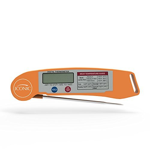 - Iconic Instant Read Digital Meat Thermometer with Fold-Away Probe and Precision LED Temperature Gauge; Orange, Impact Resistant Thermoplastic Shell.