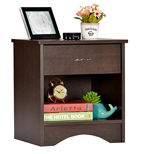 DeckUp Bei Side Table/End Table with Storage and Drawer (Dark Wenge, Matte Finish)