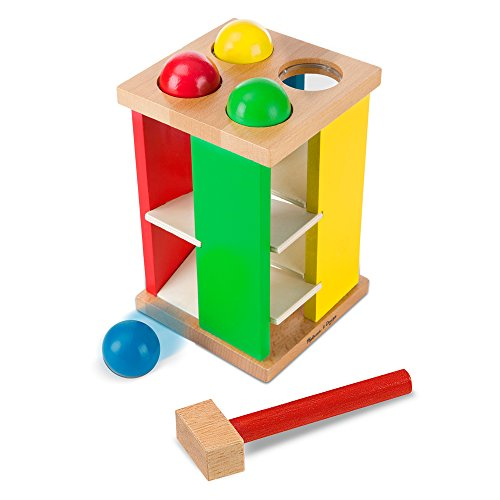 41TtYJNeKDL - Melissa & Doug Deluxe Pound and Roll Wooden Tower Toy With Hammer