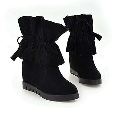 Amazon.com   T-JULY Women's Fur Ankle Boots Hidden Wedge