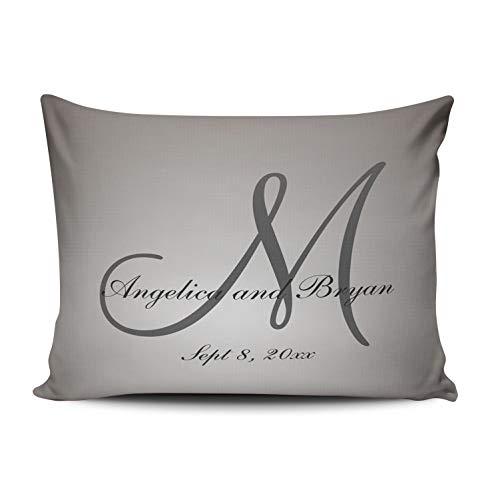 DOUMIFA Monogrammed Wedding Pillowcase Home Sofa Decorative 12x20 Lumbar Throw Pillow Case Decor Cushion Covers One Sided Printed