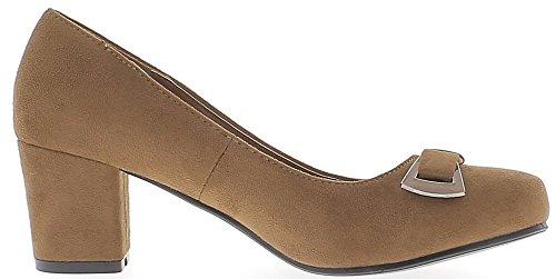 Camello zapatos retro 6 cm con tacón de aspecto ante arco