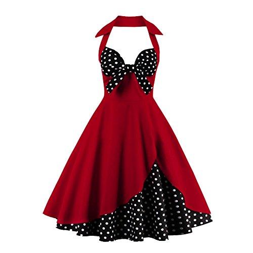 - FTVOGUE Women Vintage Dress 50s Halter Bowknot Sleeveless Rockabilly Retro Swing Dress(XXL)