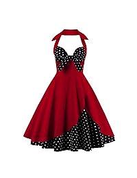FTVOGUE Vestido de Oscilación Vintage Cuello Colgante Cofre de Arco Vestido de Costura de Estampado Floral