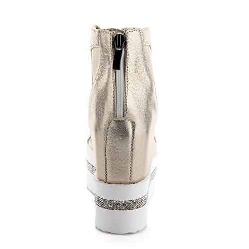 Gold Toe Peep Solid Zipper Womens Sandals AmoonyFashion High PU Heels qvpSnzRxwE