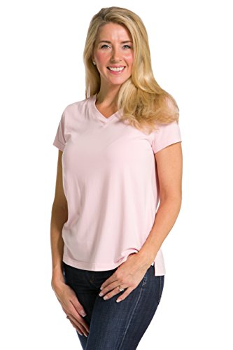 Fishers Finery Women's Short Sleeve V-Neck Tee; Relaxed Fit (Pink, XXL)