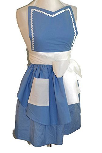 [Womens Retro Blue and White Apron] (Halloween Storybook Costumes)