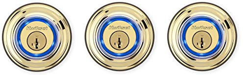 Kwikset Kevo 99250-201 Kevo 2nd Gen Bluetooth Touch-to-Open Smart Electronic Door Lock Deadbolt Featuring SmartKey Security, Polished Brass (Pack of 3)