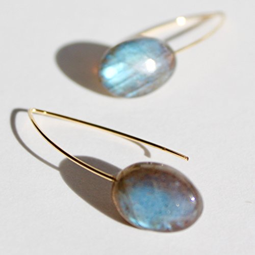 Blue flash labradorite, green amethyst, blue topaz AND MUCH MORE gem earrings with rigid gold wire-Free expedited (Blue Topaz Labradorite Earrings)