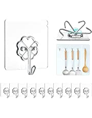 Adhesive Hooks 24 Packs, Wall Hangers, Transparent Reusable Sticky Hooks, Hanging Accessories, Shower Towel Hooks, Wall Hooks, Utility Hooks, Transparent Hooks, for Keys, Bathroom, Shower, Kitchen, Door, Ceiling, Home Improvement,Office, Window (Clear)