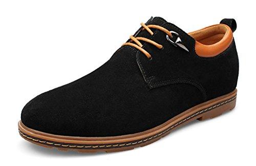 Tda Heren Eenvoudige Ronde Neus Suede Oxford Dress Schoenen Zwart