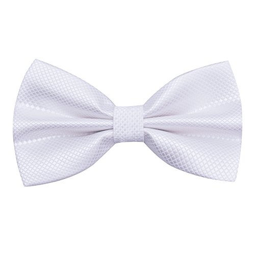 White Solid Bowties - Men's Solid Formal Banded Bow Ties (White)