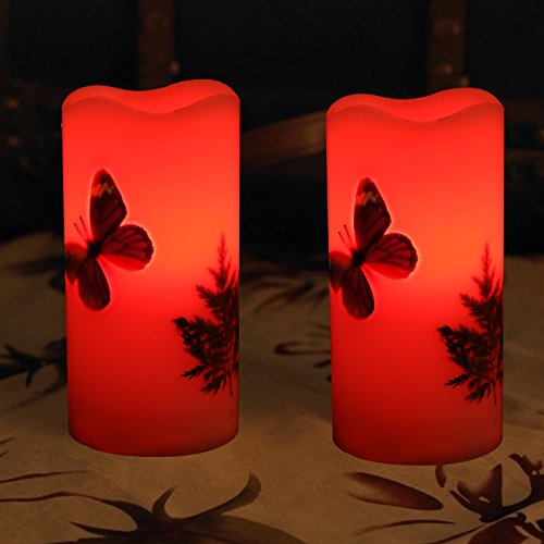 LED Candles Flameless Battery Operated with Remote Timer 6'' Tealight Butterfly & Plants Decor Real Wax Electric Candle Lights 12 Color Changing for Home&Kitchen Indoor/Outdoor Party by Wending (Image #5)