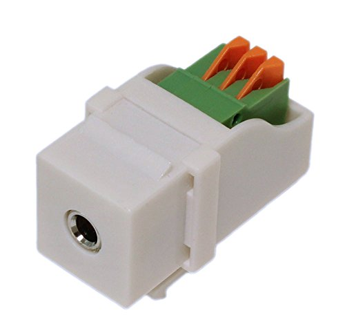 MyCableMart Wall Plate: Keystone Jack - 3.5mm Stereo Audio Block Connector, White