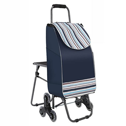 Yxsd Shopping cart Climbing Stairs Folding Luggage cart Trolley car with Chair Portable Shopping cart Trolley cart Stroller Thick Waterproof Fabric (Color : Blue)