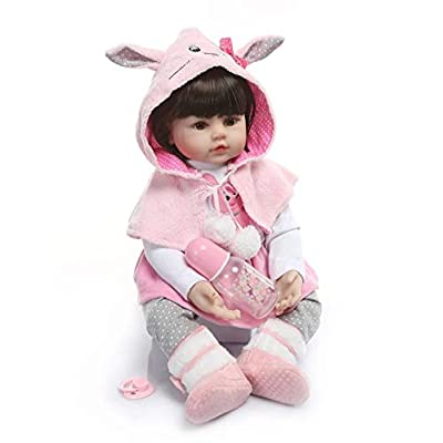 Nicery Icradle Reborn Baby Doll Soft Simulation Silicone Vinyl Cloth Body 18inch 45cm Lifelike Vivid Boy Girl Toy for Ages 3+ RD60C013W-45: Toys & Games