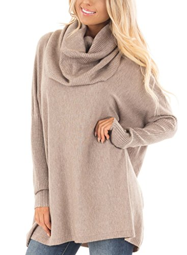 Sidefeel Women Cowl Neck Ribbed Sleeves Knit Top Pullover Sweater XX-Large Khaki