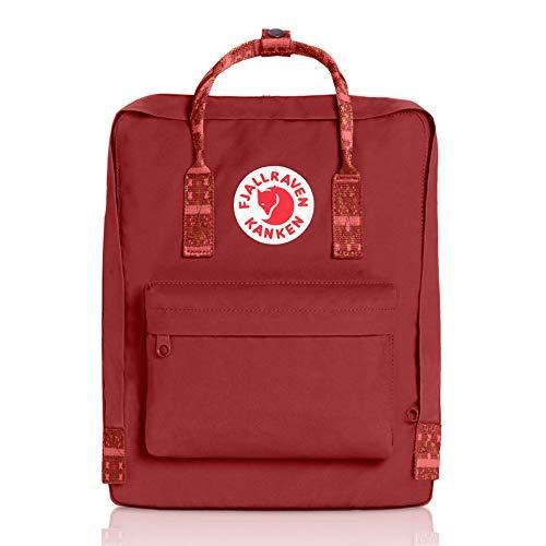Fjallraven - Kanken Classic Backpack for Everyday, Deep Red-Folk Pattern