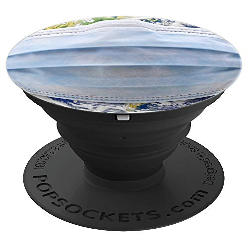 Antiviral Face Mask On Planet Earth - PopSockets Grip and Stand for Phones and Tablets ()