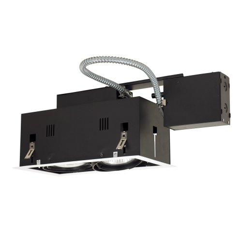 Jesco Lighting MGRP30-2WB Modulinear Directional Lighting for Remodeling, Double Gimbal PAR30 2-Light Linear, Black Interior with White Trim