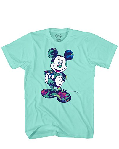 Disney Mickey Mouse Tropical Mint Green Disneyland World Tee Funny Humor Adult Mens Graphic T-Shirt Apparel (Green, Large) (Cartoon T Shirt Men)