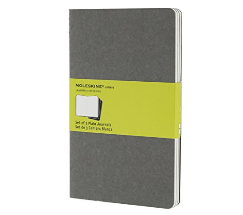 Moleskine Cahier Journal (Set of 3), Large, Plain, Pebble Grey, Soft Cover (5 x 8.25) - Three Pebbles