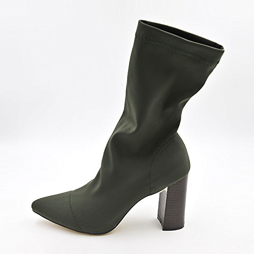 The Barrel girl boots pointed high-heeled boots stretch solid color with ultra-thick, and women's stretch of green 36