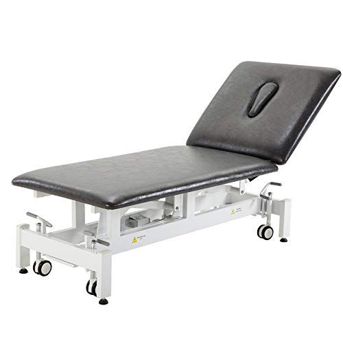 Physical Therapy Table,HomelyD Hi-Lo adjustable 2 section PT Treatment table,ultra comfortable foot control Facial Salon SPA Bed for Clinic,Massage and Acupuncture (Black)