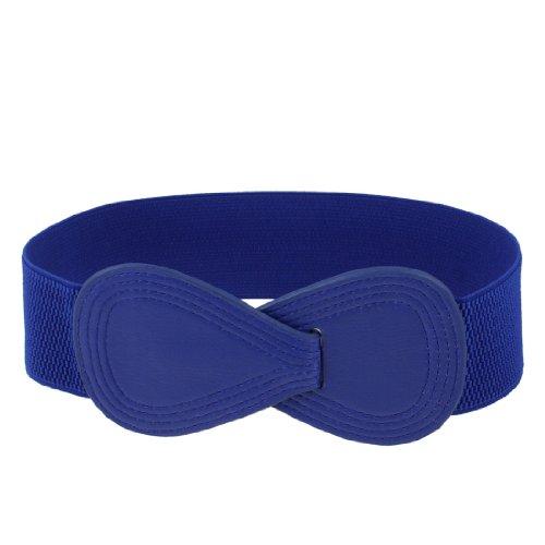 Lady Number 8 Sign Interlocking Buckle Stretchy Waist Belt Waistband Corset Band Blue