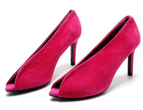 deporte Ropa de Toe Bodas Tacones Stilettos Rose Moda De Sexy MNII Red Altos Party Club Womens qOp4a
