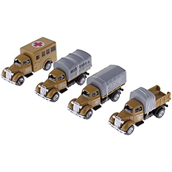 MonkeyJack 4 Pieces 1:64 Diecast Model Car Truck Vehicle Model Set Kids Boys Collectibles Toys - Army Cars C