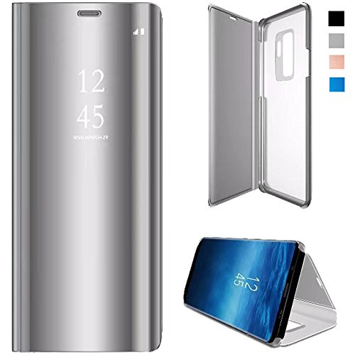 hot sale online 15aff 9a36e Samsung Galaxy S9 Plus Flip Case, Mirror Screen Clear View Leather Flip  Smart Kickstand Case Cover for Samsung Galaxy S9 Plus-Silver