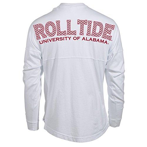 (Venley Official NCAA University Of Alabama Crimson Tide UA Roll Tide! Women's Long Sleeve Spirit Wear Jersey T-Shirt, White-35al-32,)