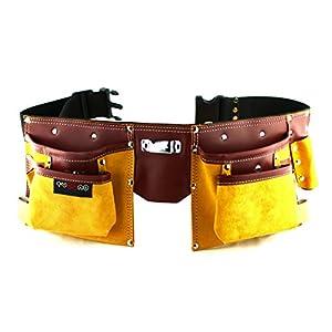 11 Pockets Carpenter Leather Tool Belt | Quick release work belt | Tool Holder work organizer for Builder, DIY er