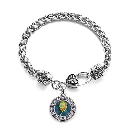 Inspired Silver - Vincent Van Gogh Braided Bracelet for Women - Silver Circle Charm Bracelet with Cubic Zirconia Jewelry