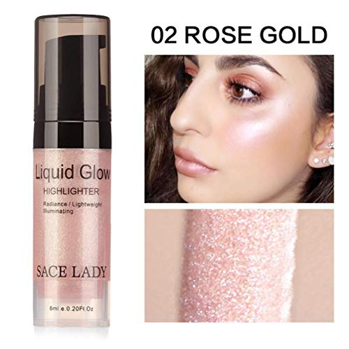 Pressed Highlighter Liquid Shimmer Smooth Long-lasting Glow Lip Chest Foundation Makeup Cream High Light Facial Bronzer Concealer Cosmetic Highlighter Liquid (B)