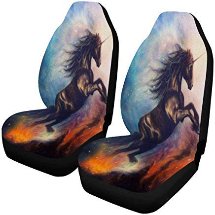 (INTERESTPRINT Black Unicorn Dancing in Space Profile Portrait Auto Seat Covers Full Set of 2, Car Seat Covers Front Seats Only Universal Fit )