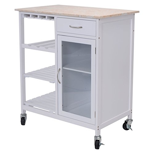 Eight24hours Portable Kitchen Rolling Cart Faux Marble Top Island Serving Utility Cabinet