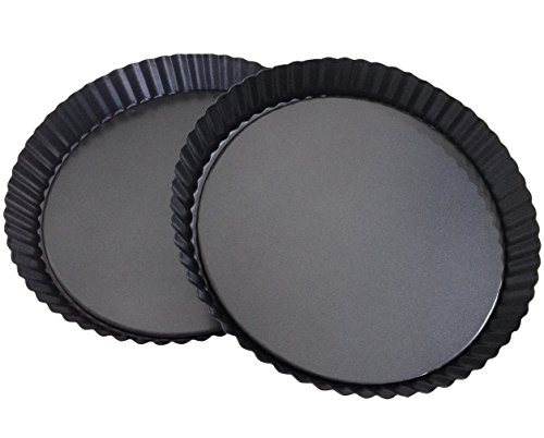 Attmu Non-Stick 8 Inches Removable Loose Bottom Quiche Pan (2 Pack), Tart Pie Pan, Round Tart Quiche Pan with