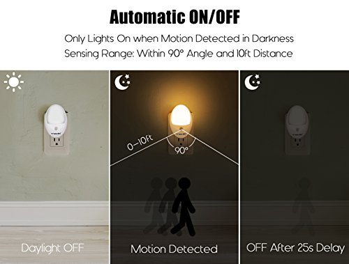 LED Motion Sensor Light, Emotionlite Plug in Motion Activated Night Light, Hallway, Bathroom, Stairs, Kitchen, Garage, Corridor, Bedroom, Warm White, 2 Pack