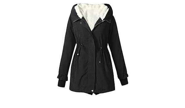 Amazon.com: AOJIAN Women Jacket Long Sleeve Outwear Hooded Thicker Button Zipper Solid Parka Coat: Clothing