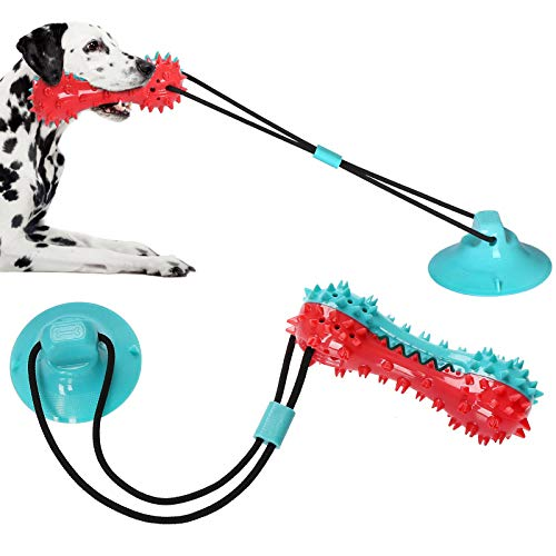 Suction Cup Dog Toy, Natural Rubber Puppy Training Teeth Cleaning Rope Chew Toys for Aggressive Chewers, Interactive Tug…