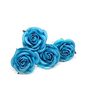 """Savvi Jewels 2"""" Cyan Blue Mulberry Paper Flower Roses with Wire Stems, Rose Flowers, Artificial Flower Rose DIY Bouquets Wedding Party Baby Shower Home Decor, DIY Wedding,10 Pieces 54"""