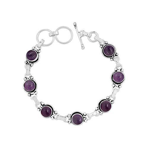 Genuine 7mm Round Shape Amethyst Link Bracelet 925 Silver Plated Handmade Oxidized Finish Jewelry for Women Girls