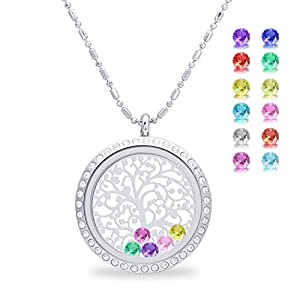 Family Tree of Life Magnetic Closure Floating Charms Living Memory Locket, DIY Birthstone Necklace