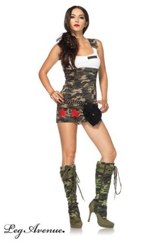 Sexy Camo Dress With Star Appliques (Leg Avenue Women's Combat Tank Dress With Star Appliques, Camo, Medium)