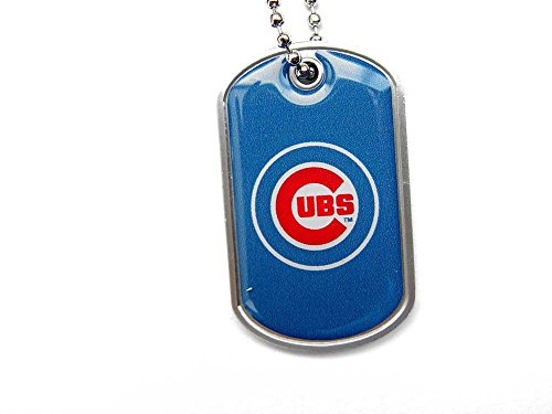 Chicago Cubs Dog Tag Domed Necklace Charm Chain