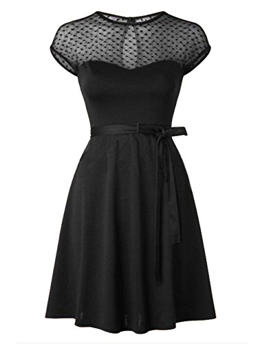 Blooming Jelly Women's Retro 50s Style Swing Dress  Black Small (Top Dresses Sweetheart)