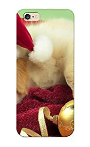 Case For Iphone 6 Plus Tpu Phone Case Cover(golden Retriever Puppy With Santa Hat ) For Thanksgiving Day's Gift