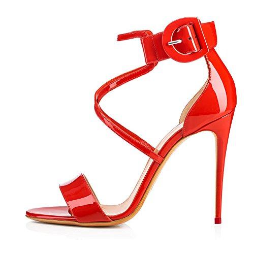Sandales Femme De Grande KJJDE Cheville Fête Mariage Talon Club Taille Plateforme 35 Soirée Sangles B4 Haut Red Sexy TLJ De Transgenre BvdPvq